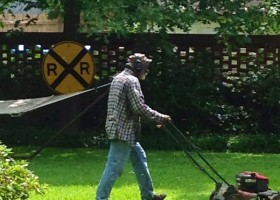 Mr. Bob Davis mowing the Delta Bohemian Guest House yard in Clarksdale.