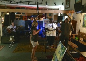 Lisa Eismen filming Kingfish, Preston and Stan Street at Hambone Gallery Pre-Sunflower Fest