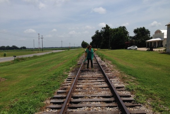 Magical Madge on a railroad track near Shack Up Inn
