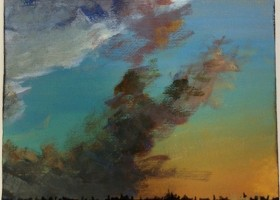 Greg Birdsong Mississippi Delta Sunset miniature painting titled SKY RIDER
