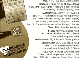 SOUNDS AROUND TOWN in CLARKSDALE beginning Thursday, October 31, 2014