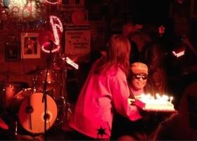 Red Paden enjoying his birthday at Red's Blues Club