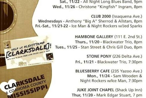 SOUNDS AROUND TOWN in CLARKSDALE beginning Thursday, November 20, 2014