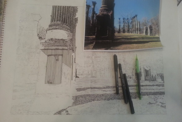 Beginning a Drawing of Windsor Ruins in Port Gibson, MS by Artist Jeffrey Yentz