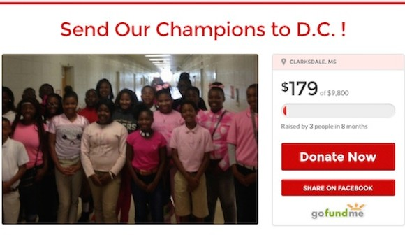 Screen shot of the GoFundMe page for Coahoma Jr. and Sr. High School DC trip. 2015.
