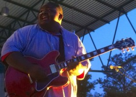 Christone Kingfish Ingram playing the WROX Radio free concert on the MLK Stage in Downtown Clarksdale. 16 years old. 6/26/15